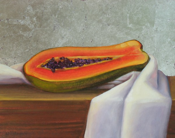 Reclining Papaya (with silver leaf)