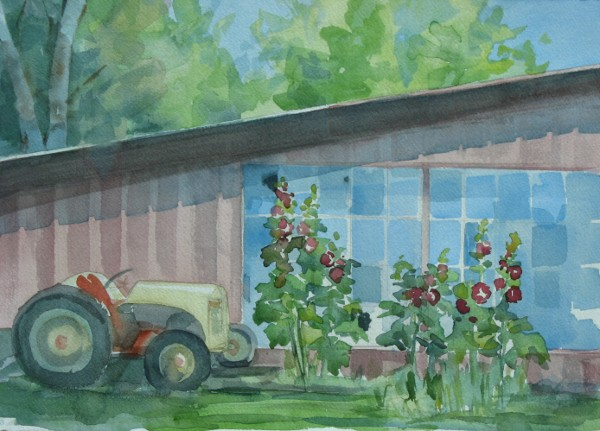 Hollyhocks and Tractor